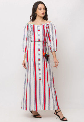 Stripe Printed Viscose Maxi Dress in White