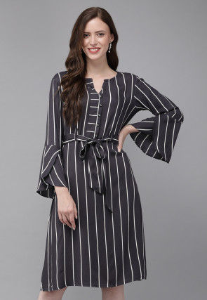 Stripe Printed Viscose Rayon A Line Dress in Black