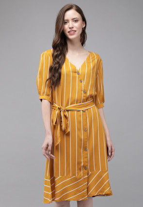 Stripe Printed Viscose Rayon A Line Dress in Mustard