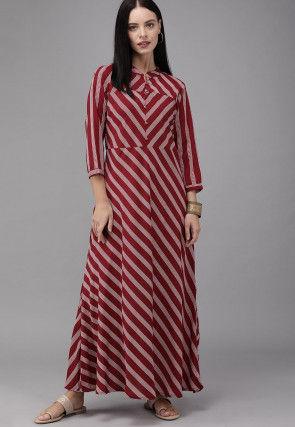 Stripe Printed Viscose Rayon Maxi Dress in Maroon