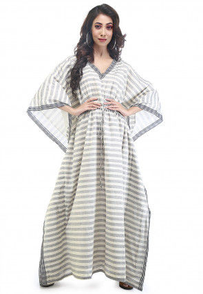 Stripe Woven Cotton Kaftan in Off White