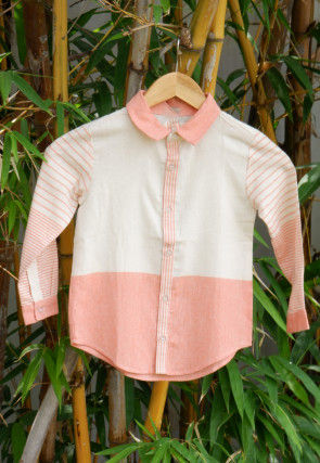 Stripe Woven Cotton Kids Shirt in Off White and Peach