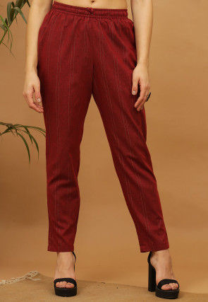 Striped Cotton Cropped Pant in Maroon