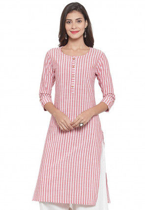 Striped Cotton Kurta in Off White and Baby Pink