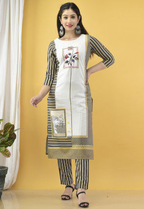 Striped Cotton Kurta with Pant in Off White and Black