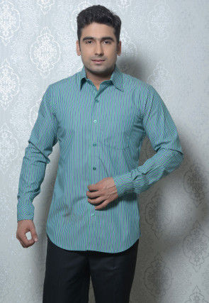 Striped Cotton Shirt in Light Teal Green