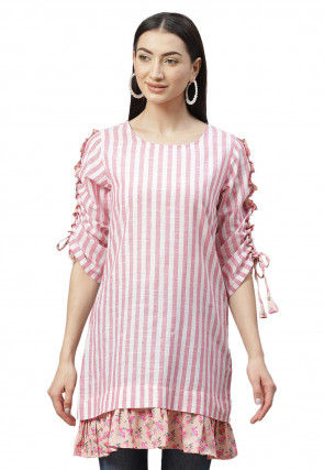 Striped Cotton Tunic in Pink and White