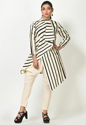 Striped Cotton Tunic with Jodhpuri Pant in White and Black
