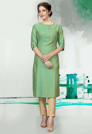 Striped Polyester Kurta with Pant in Light Green