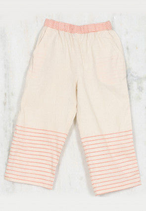 Striped Woven Cotton Kids Pant in Off White and Peach