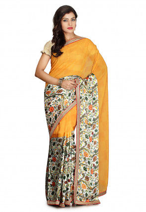 Printed Georgette Saree in Light Orange and Off White