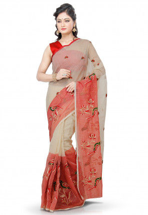 Embroidered Supernet Saree in Cream and Red