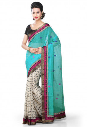 Half N Half Cotton Saree in BLue and White