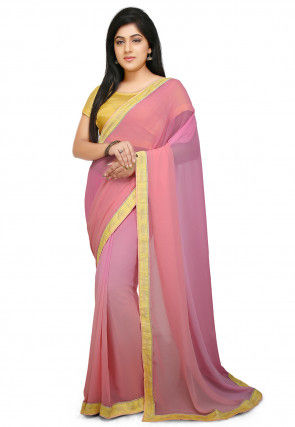 Ombre Georgette Saree in Pink and Peach