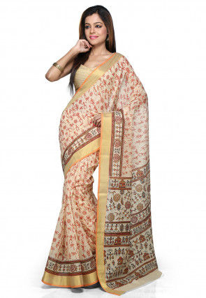 Warli Printed Chanderi Cotton Saree in Beige
