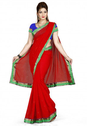 Patch Border Chiffon Saree in Red