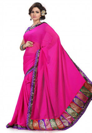 Patch Border Chiffon Saree in Fuchsia