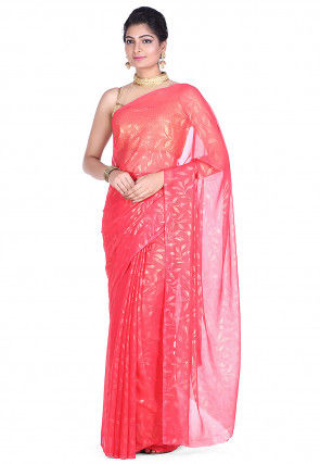 Printed Chiffon Saree in Old Rose