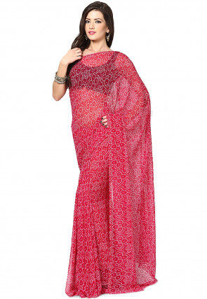 Bandhej Georgette Saree in Pink