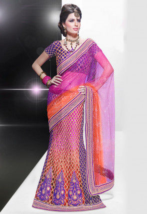 Embroidered Net Lehenga Style Saree in Multicolor