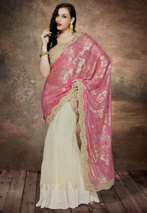 Printed Lehenga Style Net and Lycra Net Saree in Fuchsia and Cream