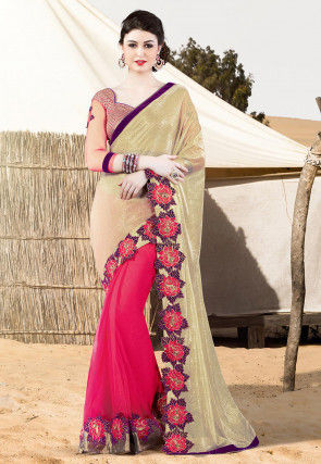 Half N Half Lycra Net Saree in Golden and Fuchsia