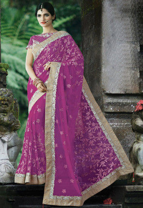 Embroidered Net Saree in Purple