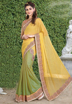 Half N Half Net Satin Saree in Yellow and Olive Green