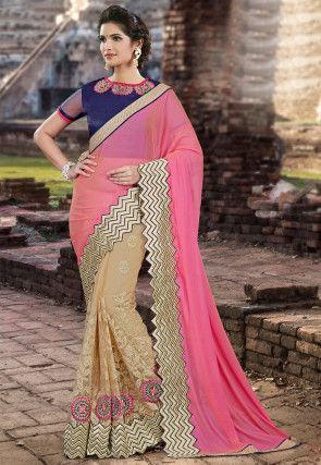 Half N Half Chiffon Saree in Pink and Beige