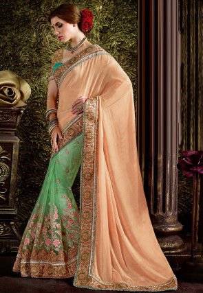Half N Half Satin Chiffon Saree in Peach and Sea Green