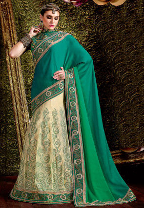 Lehenga Style Satin Georgette Saree in Green Ombre and Cream