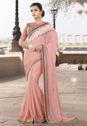 Plain Crepe Saree in Peach