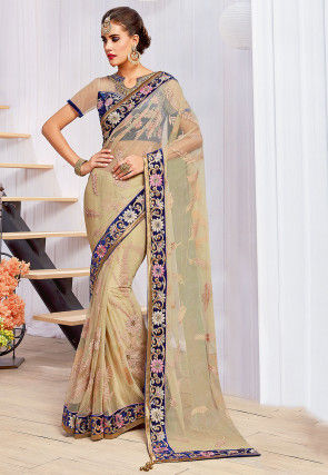 Embroidered Net Saree in Beige