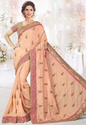 Embroidered Cotton Silk Saree in Peach