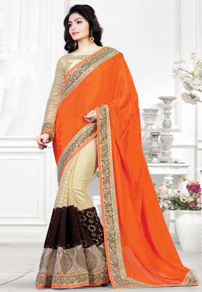 Half N Half Satin Chiffon Saree in Orange and Light Beige