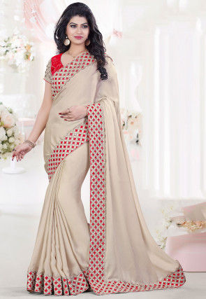 Embroidered Bordered Crepe Saree in Beige