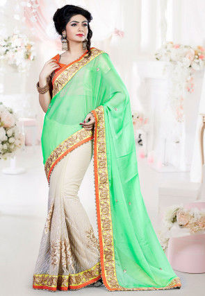 Half N Half Chiffon Saree in Light Green and Off White