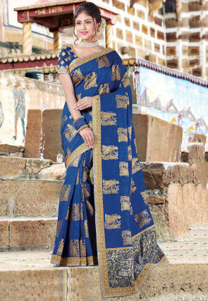Foil Printed Art Silk Saree in Blue