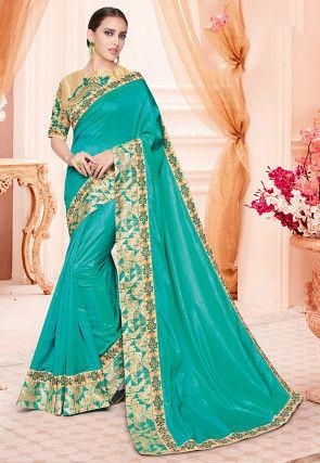 Contrast Border Art Silk Saree in Teal Green