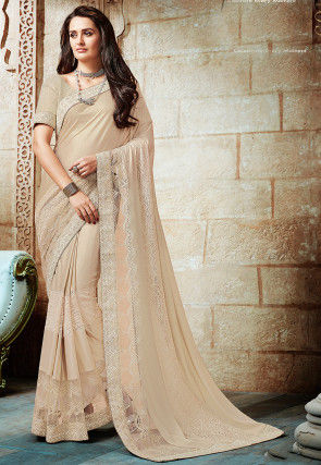 Embroidered Lycra Shimmer Saree in Light Beige