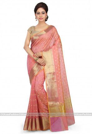 Woven Cotton Silk Saree in Peach