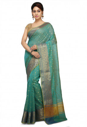 Woven Cotton Silk Jacquard Saree in Sky Blue