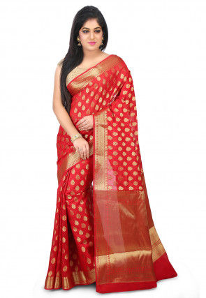 Woven Chanderi Silk Saree in Red