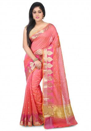 Woven Chanderi Silk Saree in Pink