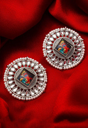 Tanjore Painted Oxidised Stone Studded Earring
