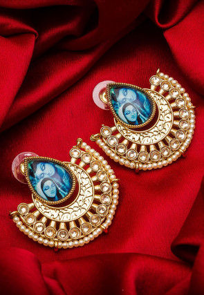Tanjore Painted Stone Studded Chandbali Earring