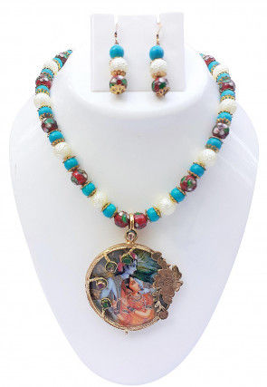 Tanjore Painting Stone Studded Necklace Set