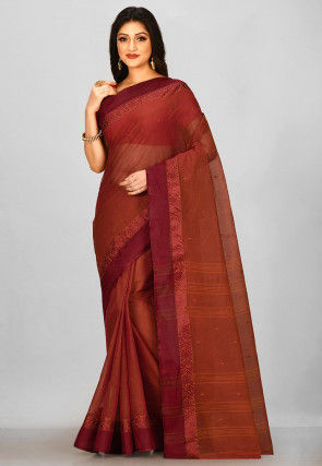 Tant Cotton Saree in Brown