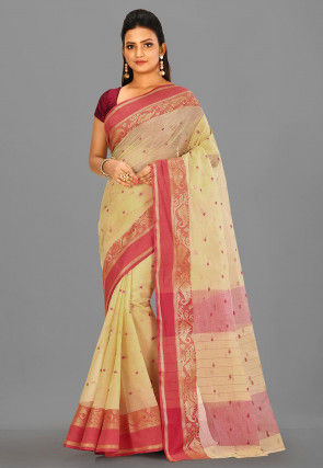 Tant Cotton Saree in Light Beige