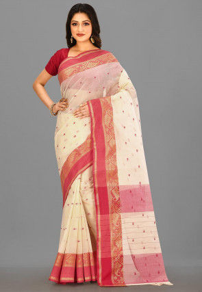 Tant Cotton Saree in Off White
